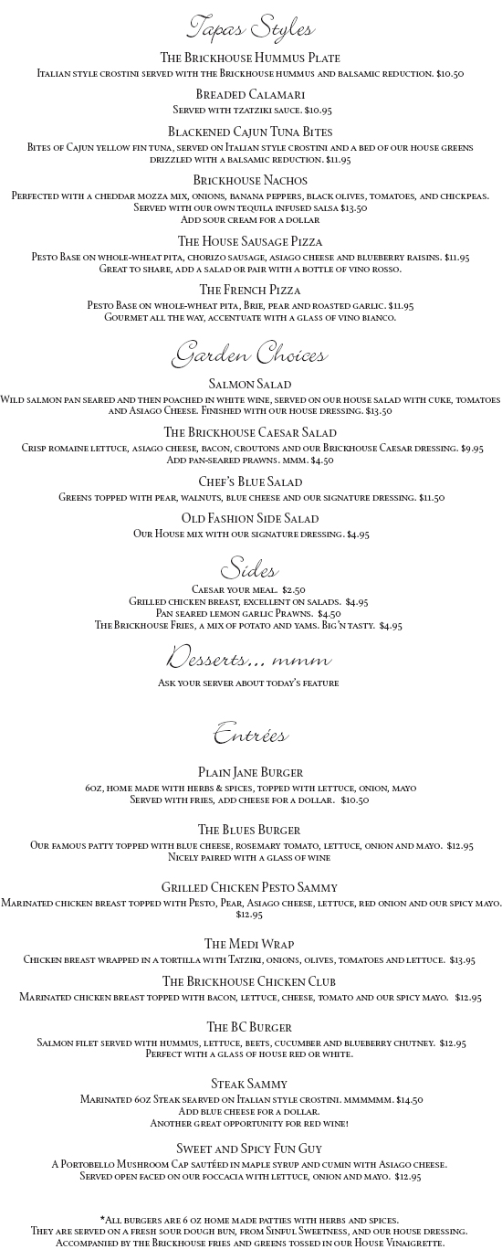 The Brickhouse Lunch Menu