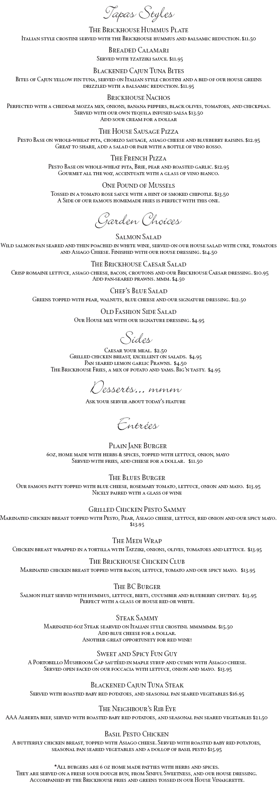 The Brickhouse Dinner Menu